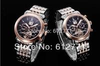 Brand IK colouring men mechanical hand wind watch, dress multi-functional tourbillon watch,men full steel sports casual watches
