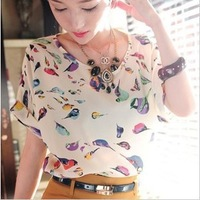 New 2014    Casual Loose Bird Print Chiffon Women Blouse Women Blouse t shirts Women t-shirt t shirt SI047-1