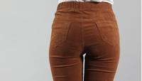 High waist women's casual pants plus size corduroy Women long trousers elastic waist skinny corduroy pants