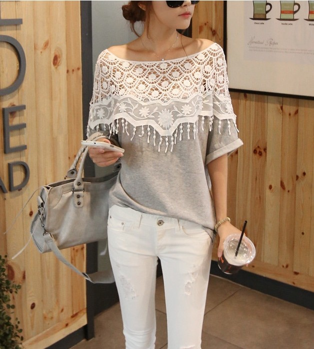 2015 New Fasion Sweet Hollow Out Lace Cutout Shirt Women Handmade Crochet Cape Collar Batwing Sleeve Tops T Shirt(China (Mainland))