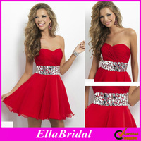 Amazing A-Line Above Knee Crystal Beading Sweetheart Red Chiffon 2014 New Arrival Prom Dresses Bridal Dress Gown 9683