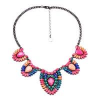 Fashion fashion accessories bohemia multicolour flower pendant necklace