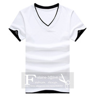 Young men two fake v-neck shirt pure color cotton render unlined upper garment of a T-shirt coat of cultivate one's morality