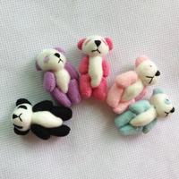 #Black H=4cm Mini Stuffed Jointed Bare Panda Doll Plush Toys Gift Flower Packing Pendant Teddy Bear 100pcs/lot