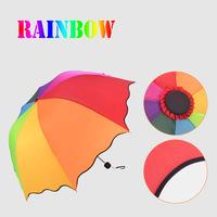 2014 New rainbow umbrella  water sun umbrella Extreme Popularity Creative Three Folding super anti-uv umbrella
