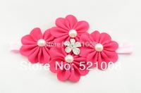 2014 New Chiffon Flower Headband with Starburst Button FOE Headband for Infant Newborn Girls Hair Accessories Photo Prop 12pcs