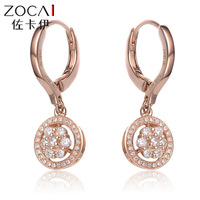 ZOCAI ROUND SHAPE 0.372 CT CERTIFIED I-J / SI DIAMOND WEDDING HOOP EARRINGS ROUND CUT 18K ROSE GOLD JEWELRY H00183