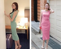 Free shipping One-piece summer dress 2014 new fashion tank dress women floor-length bohemia dresses ladies 6 colors