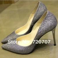 2014 Spring New SILVER pointed toe high-heeled shoes British Brand Jim H Korean Star Jun Ji-hyun Same type Sexy Queen Pump