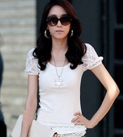 Summer Dress 2014 Fashion Cotton Lace O-Neck Slim Puff Sleeve Women T-shirt Tops For Women & Crop Top