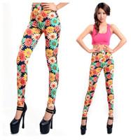 L-401 New 2014 Vintage Colorful Sunflowers Pattern Print Fashion Women's Leggings Skinny Pants Spring Autumn