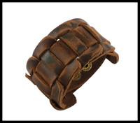 2014 Fashion Men Jewelry Wide Genuine Leather Cuff Handcuff Bracelets Bangles, Wristband Knitted Punk Bracelet