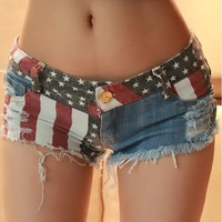 1pc/lot Sexy Star Stripe American US Flag Print Mini Jeans Shorts Summer Denim Low Waist Casual Hot Girl Zipper Shorts 654626