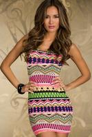 New Arrival Summer Fashion Boho Style Sexy Hot Women Chevron Design Bodycon Midi Club Dress For Party
