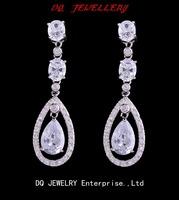Elegent Jewellery Champane/ ruby/Amethyst/white/black Sapphire white gold plated dangle Earrings for gift free