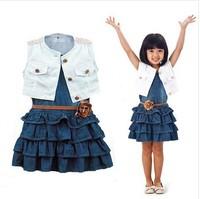 New Arrival 2014 Baby Girl's Two-Piece Sets Children's Clothing Female Child White Vest Denim Skirt Summer Sleeveless Suit
