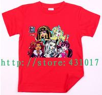 Retail-2014 New fashion Monster high summer cartoon children's T-shirts 2-13 Age boy's girl's kids t shirt 100 cotton