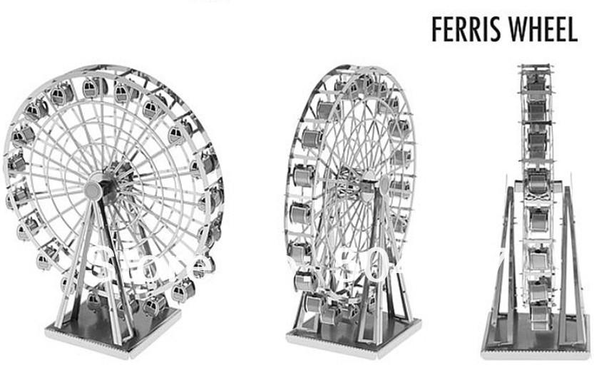 Free Shipping 1Piece Metal Works DIY 3D Laser Models / Assemble Miniature Metal 3D Model - Ferris Wheel(China (Mainland))