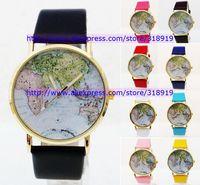 Hot sale leather geneva watch fashion dress quartz unisex ladies women men wrist map wholesale wrist watches 55pcs/lot