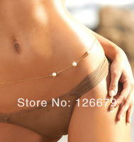 2014 New Trendy Gold Silver Three Pearls Sexy Belly Chain Jewelry bikini Beach Belly Chain Necklace Gift for Women