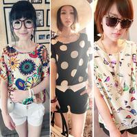 Chiffon Shirts Tops Women Loose Short Sleeve T-shirts Blouses Striped Heart Lip Free shipping & Drop shipping