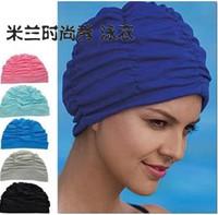 Swimming cap fashion ear Large pleated van ear protector cap bathing cap female cloth swimming cap