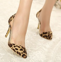Leopard print high heels single shoes europe style fashion female women's shoes transparent crystal velvet pointed toe shoes