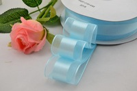 Sky Blue Organza Ribbon Satin Center 1-1/2 inch 50 Yards for DIY and Bow
