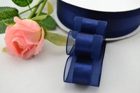 Satin Center Organza Ribbon 1-1/2'' (38mm) Navy Blue ,50yards/lot for Hair Accessories