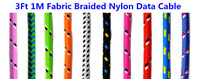 10pcs/lot Free Shipping Colorful 3FT 1M Fabric Nylon Braided Charge Sync USB Data Cable Adapter Cord for iPhone 5 5S 5C iOS7.1