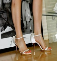 Unique style!2014 brief white wedding elegant romantic bow high-heeled sandals,OL women's formal shoes
