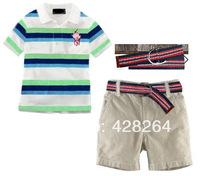 Freeshipping! Factory outlets discount! Wholesale New 2014 Baby Polo T shirts+Shorts+1 Blue 3pcs Sports Sets