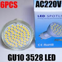 6PCS/LOT Cree 5W GU10 Socket 3528 SMD 60 Led Bulb Spotlight AC220 230 240V CE/RoHS 2 Years Warranty Replace Halogen Ultra Bright