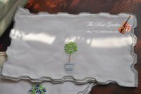 Excellent linen hand embroidery accessories pad dinner  placemat