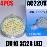 4X Cree GU10 5W Socket 3528 SMD 60 Leds Bulb Lamp Spotlights AC220-240V CE/RoHS 2 Years Warranty Replace Halogen High Power