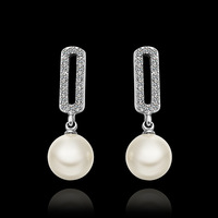 Promotion Hot Selling Temperament Luxury Fashion 18K gold plated Crystal Pearl Drop Earrings,Wholesale fashion jewelry E647