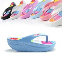 New Summer women's pumps slippers lady high platform sand beach sandals wedges slimming swing shoes high heeled flip flops stock