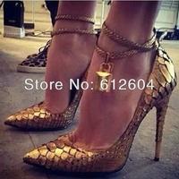 Designer women python padlock pumps luxury gold snake print high heels pointed toe high heeled dress shoes spring new pumps