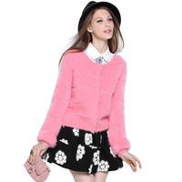 2014 spring ladies high quality marten velvet o-neck short jacket cardigan female yh-0814