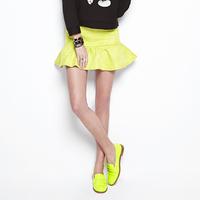 2014 spring women's solid color embossed flower high waist short skirt bust skirt 0931