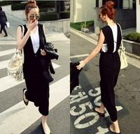 new 2014 X-1314 summer slim casual vest one-piece dress full dress loose short-sleeve T-shirt twinset