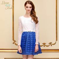 2013 autumn skirt colorant match stripe organza sweet one-piece dress yh-0460