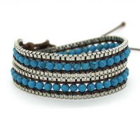 Factory Direct Sale, Free Shipping, Fashion, Popular Blue Stone Two Laps Leather Braided Rope Bracelets