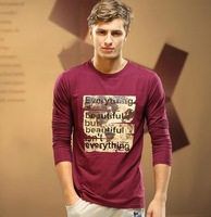 Free Shipping 2014 new spring men's wear brand U cotton men's long-sleeved t-shirt Long Sleeve men