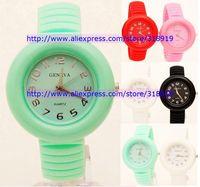80pcs/lot new fashion geneva bracelet silicone watch unisex men women ladies jelly rubber quartz wrist watches 5 colors