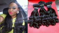 top 6a quality 3pcs/lot #1b virgin peruvian tip curls aunty funmi hair for sexy women Free shipping mixed length