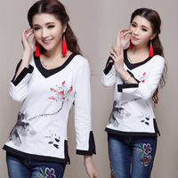 National trend 2014 spring and summer chinese style ink print three quarter sleeve v-neck T-shirt cute shirt