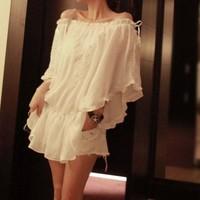 Y-1813 2014 new camisa feminina  summer fashion women  ruffle chiffon shirt female slit neckline strapless lace top short-sleeve