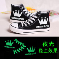 Free shipping High canvas shoes lovers shoes female bigbang neon luminous hand-painted shoes