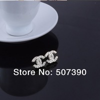 Wholesale 100 Pairs Silver / Gold Fashion Full Crystal  Letters Of The Alphabet Earrings  Earring Studs Earrings  For Women